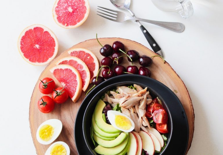 shredded chicken salad with fruit