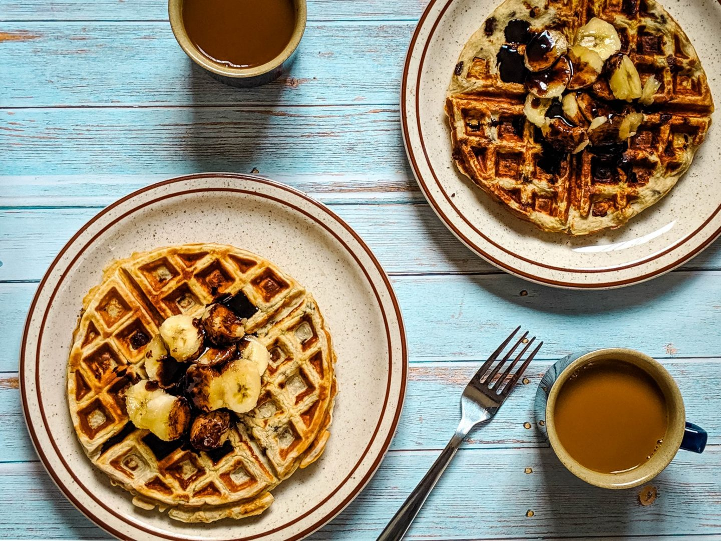 Protein Waffles: Banana Chocolate Chip (only 5 Ingredients!)