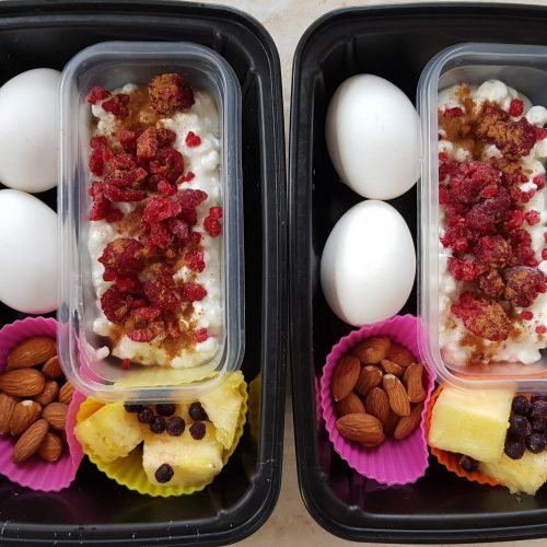 Simple Meal prep protein bistro box for lunch or breakfast.