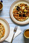banana chocolate chip protein waffles pinterest image