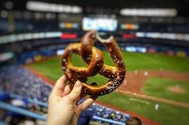 what I ate Wednesday evening snack pretzel ball stadium