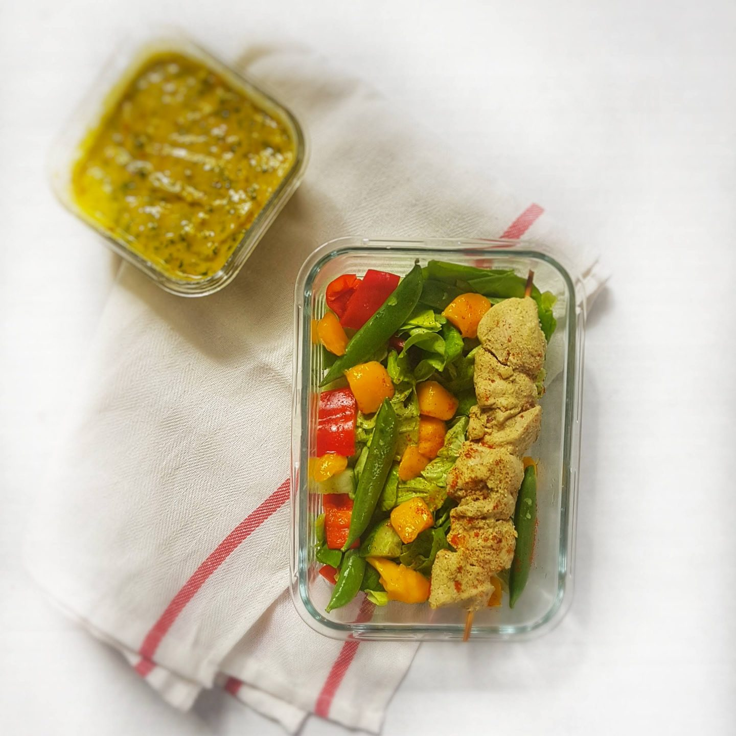 mango coconut chili chicken meal prep salad