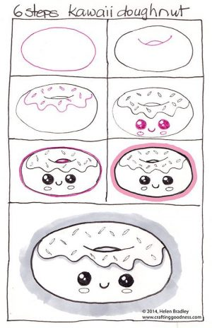 how to draw a kawaii doughnut
