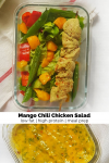 coconut mango chicken chili salad in meal prep container