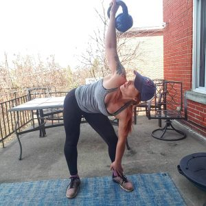 Kettlebell windmill for core strength bottom