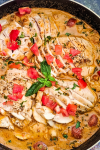 creamy tomato basil chicken with zucchini noodles