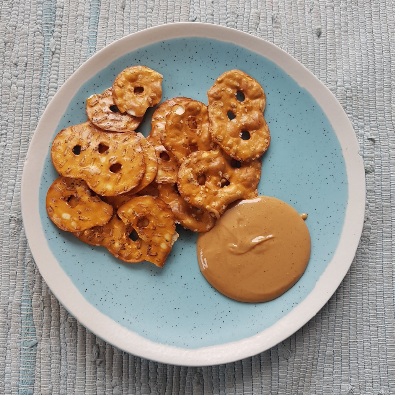 pretzel chips and peanut butter