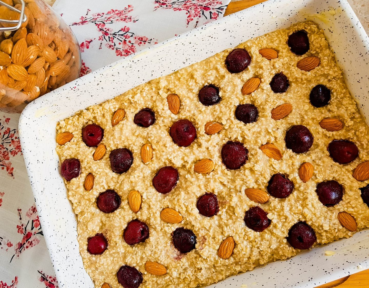 cherry almond protein baked oatmeal before baking