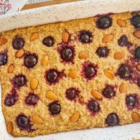 cherry almond baked protein oatmeal before cutting