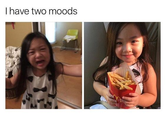 two moods stress eating meme