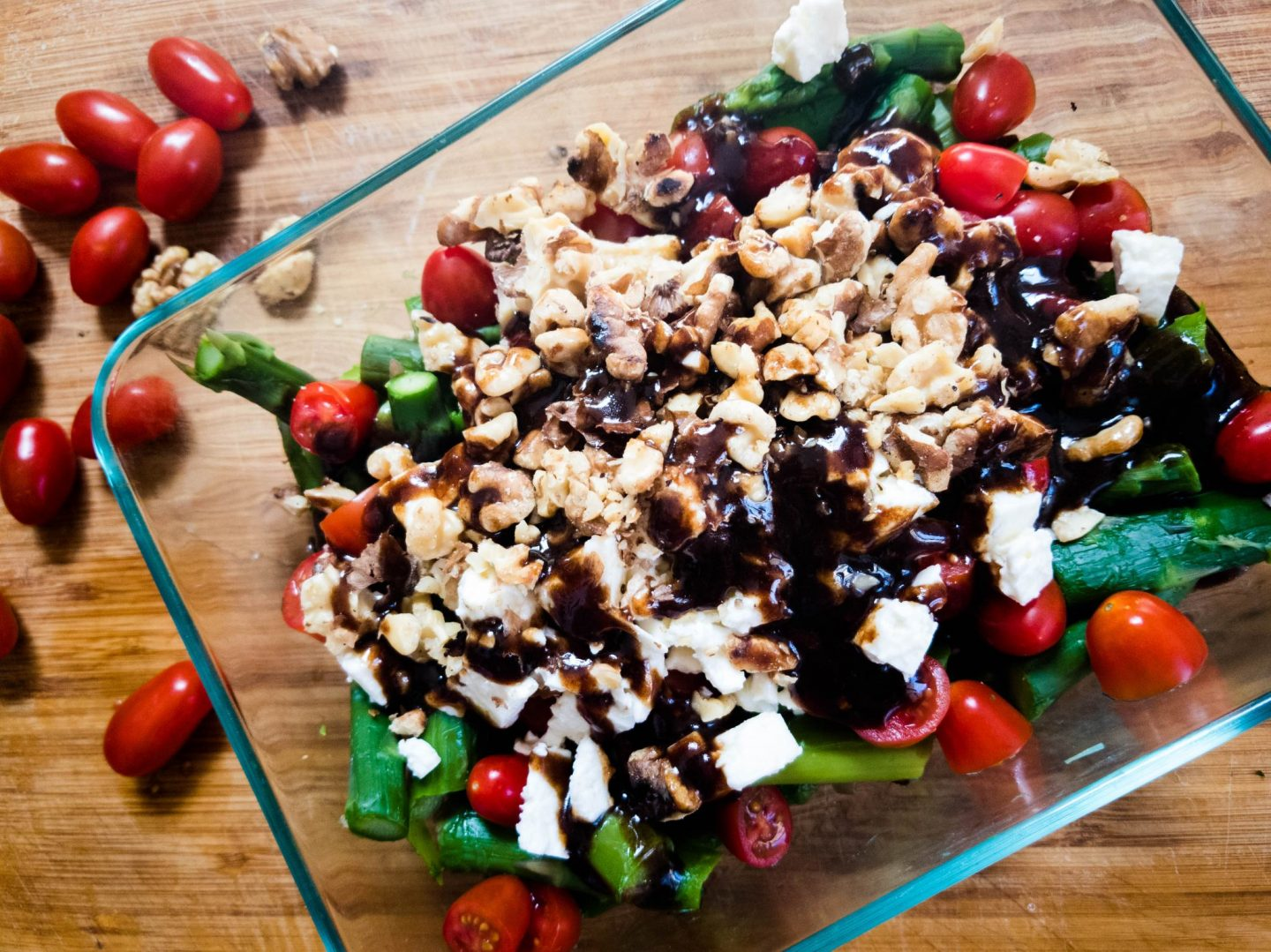 Asparagus Salad with Feta, Tomatoes, Walnuts and Balsamic Vinaigrette