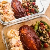 bbq chicken and potato salad with asparagus salad