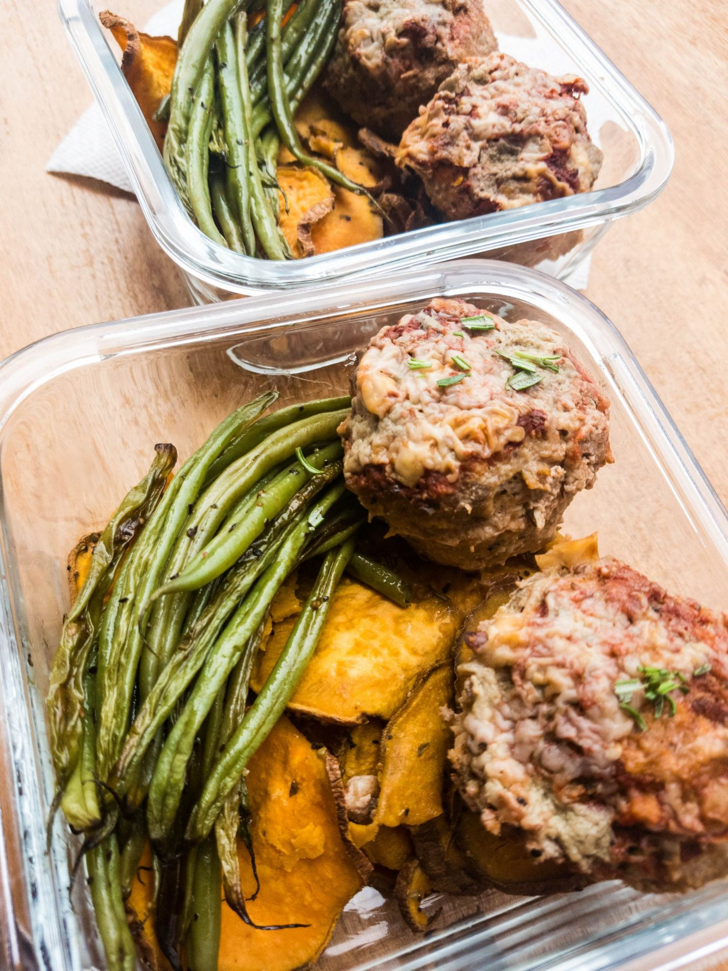 mini meatloaves in meal prep containers