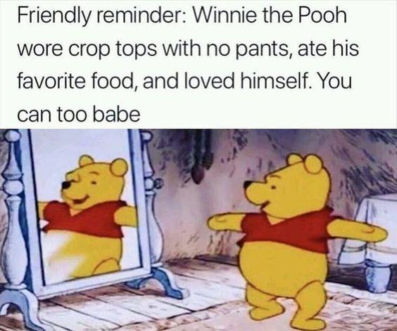 winnie the pooh self acceptance meme