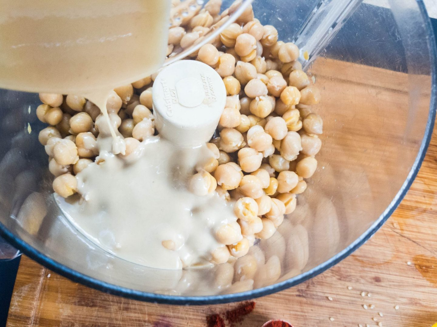 chickpeas and tahini for hummus