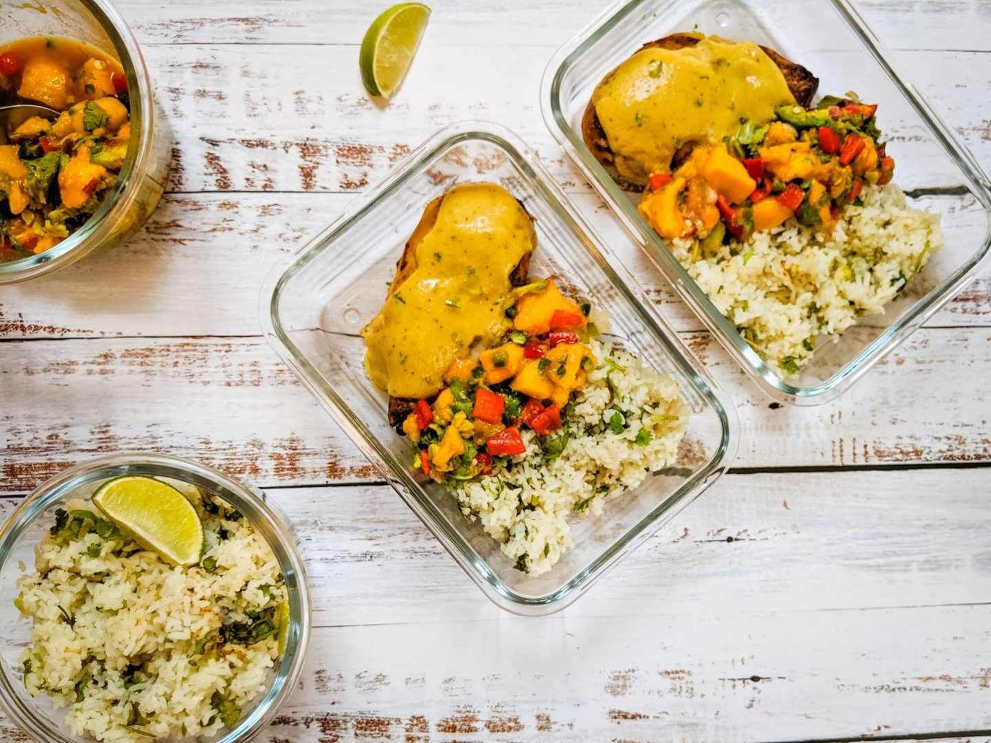mango chicken meal prep with cilantro lime rice mango avocado salsa