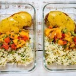 mango chicken meal prep with mango salsa, cilantro lime rice