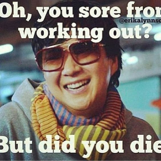 sore from working out meme