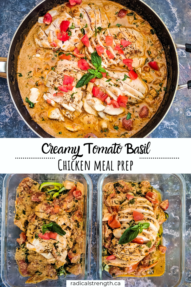 tomato basil chicken meal prep pin