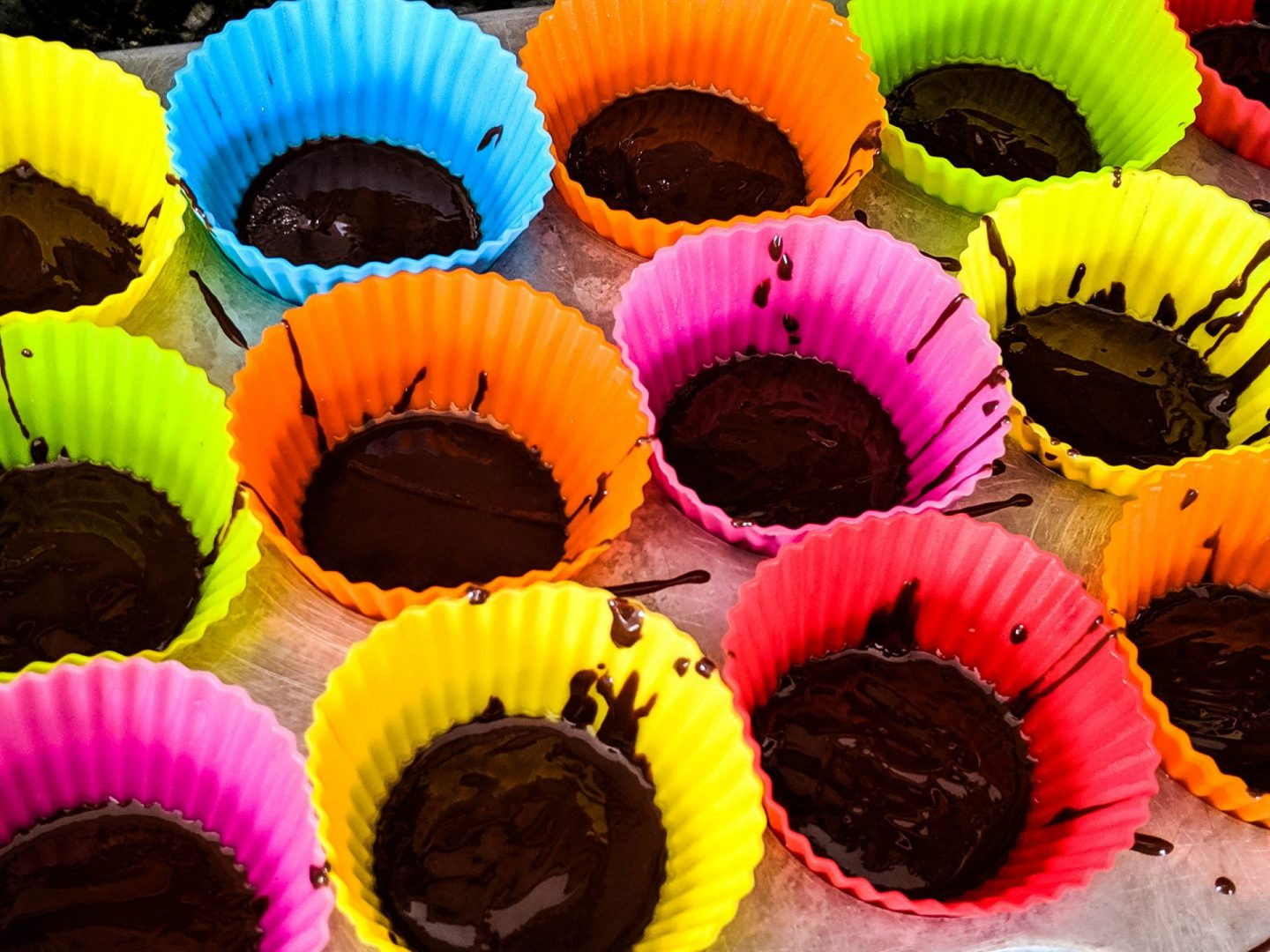 chocolate filled muffin tin cups
