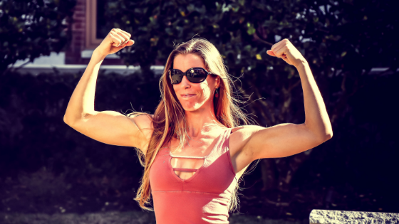 woman with muscle flexing