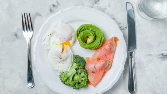 eggs, salmon, avocado, healthy fats and protein