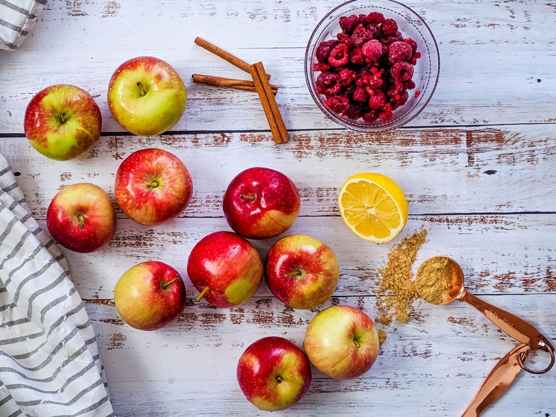 apples, raspberries cinnamon, lemon