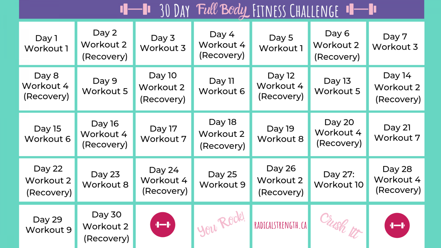 30 day fitness challenge full body calendar