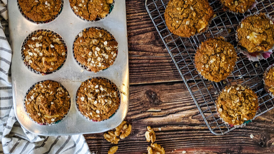 Cinnamon Apple Muffins with Oatmeal & Walnuts