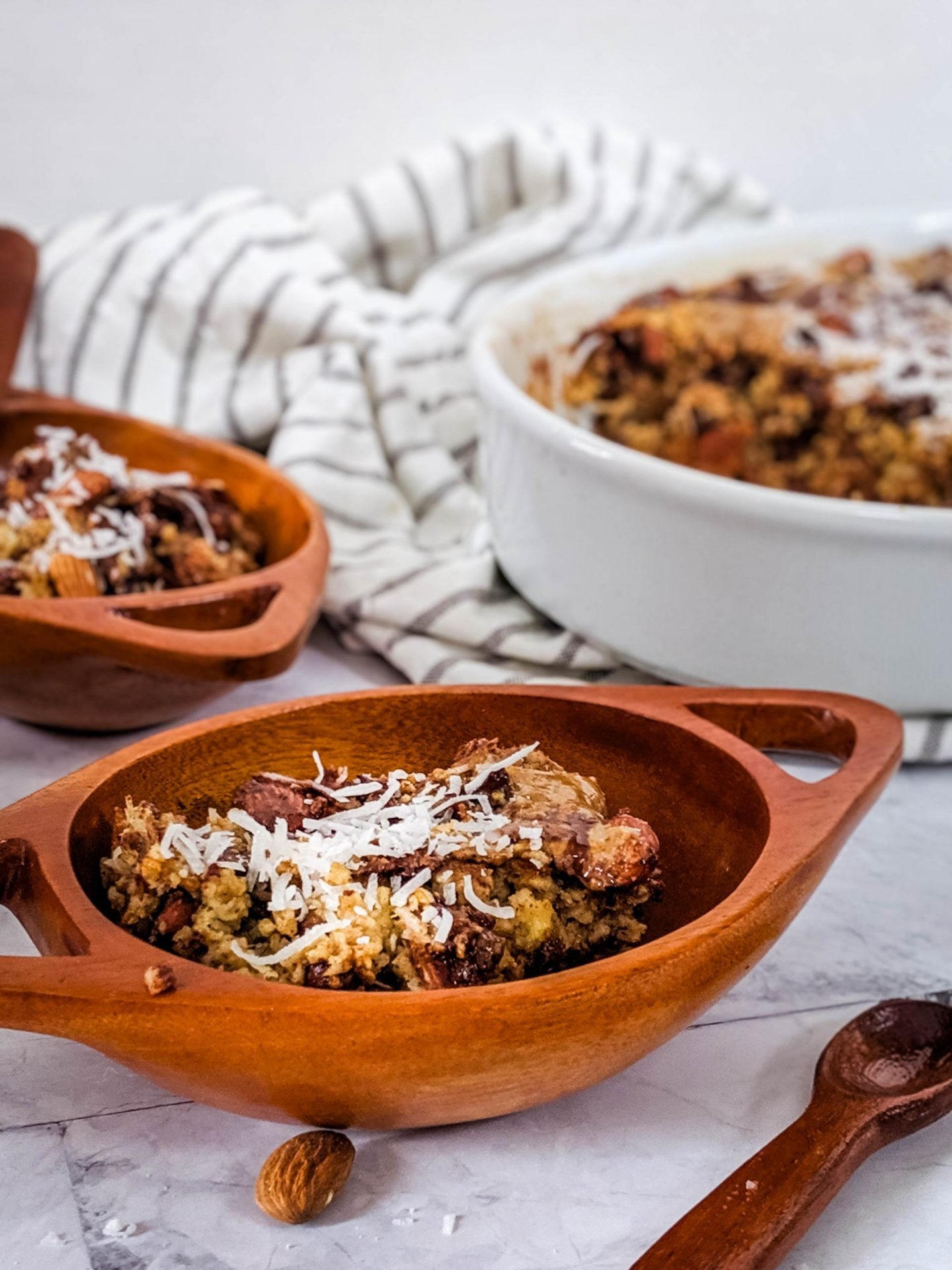 baked oatmeal with almonds, chocolate, coconut