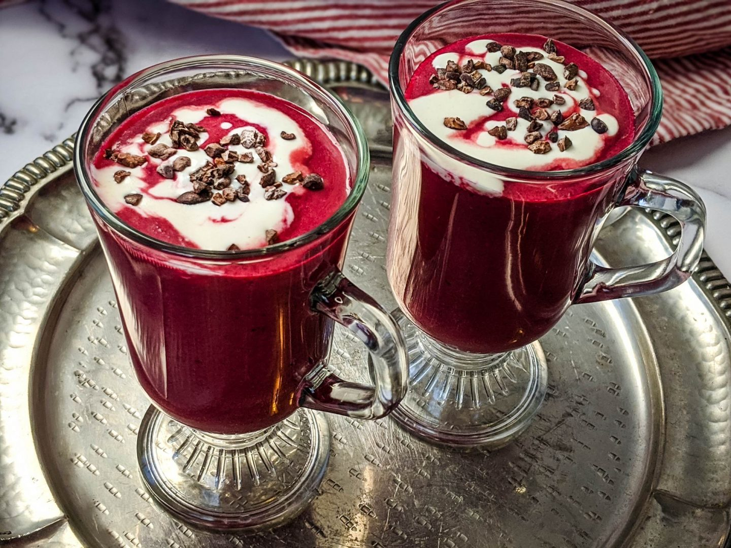 healthy red velvet cheesecake energy smoothie