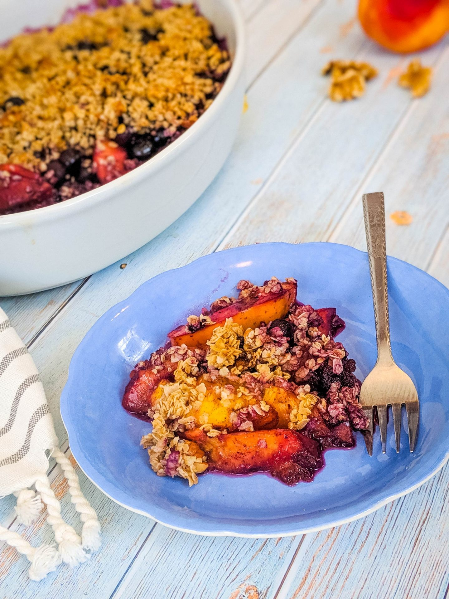 vegan crumble nectarine crumble bluberries