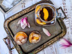 peach iced tea on tray
