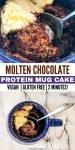 hot chocolat protein cake in a mug