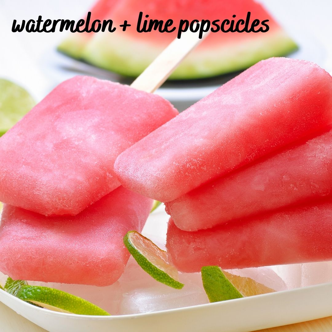 2 ingredient watermelon and lime popsicles