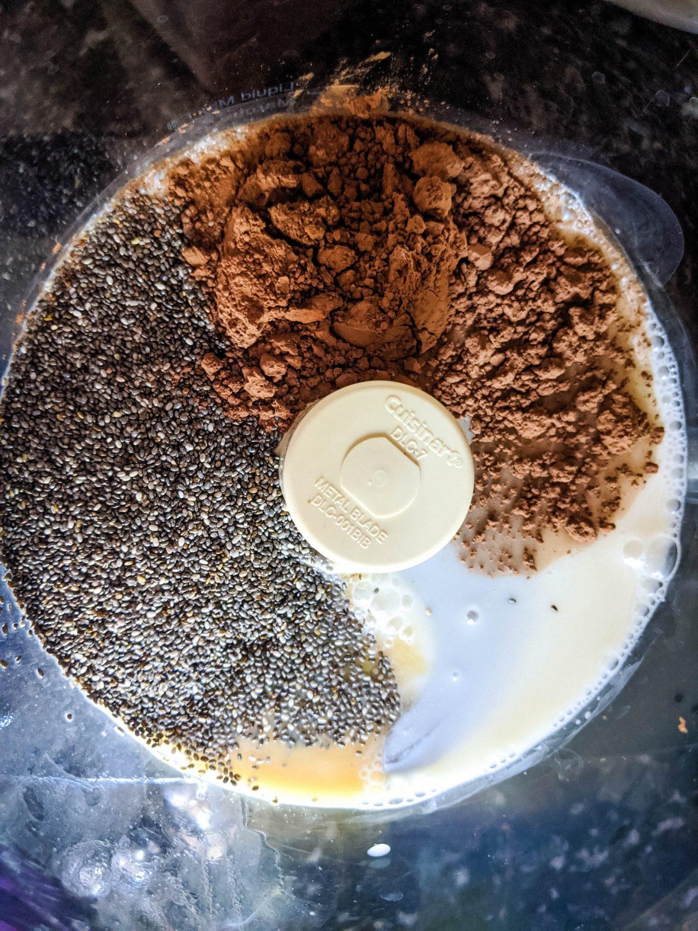 making chocolate chia pudding