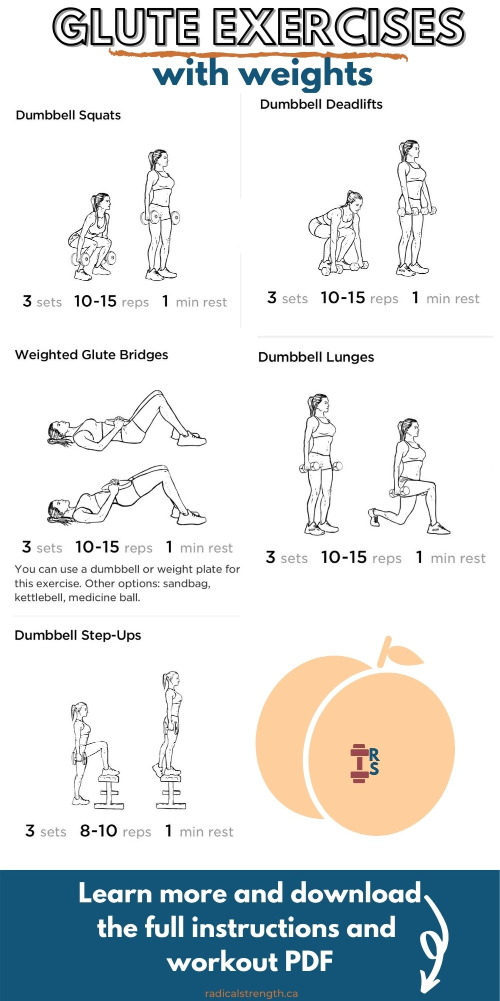 dumbbell glute exercises workout graphic