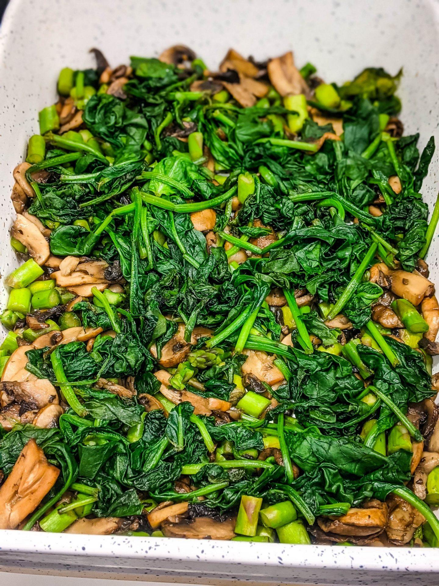 asparagus mushroom spinanch