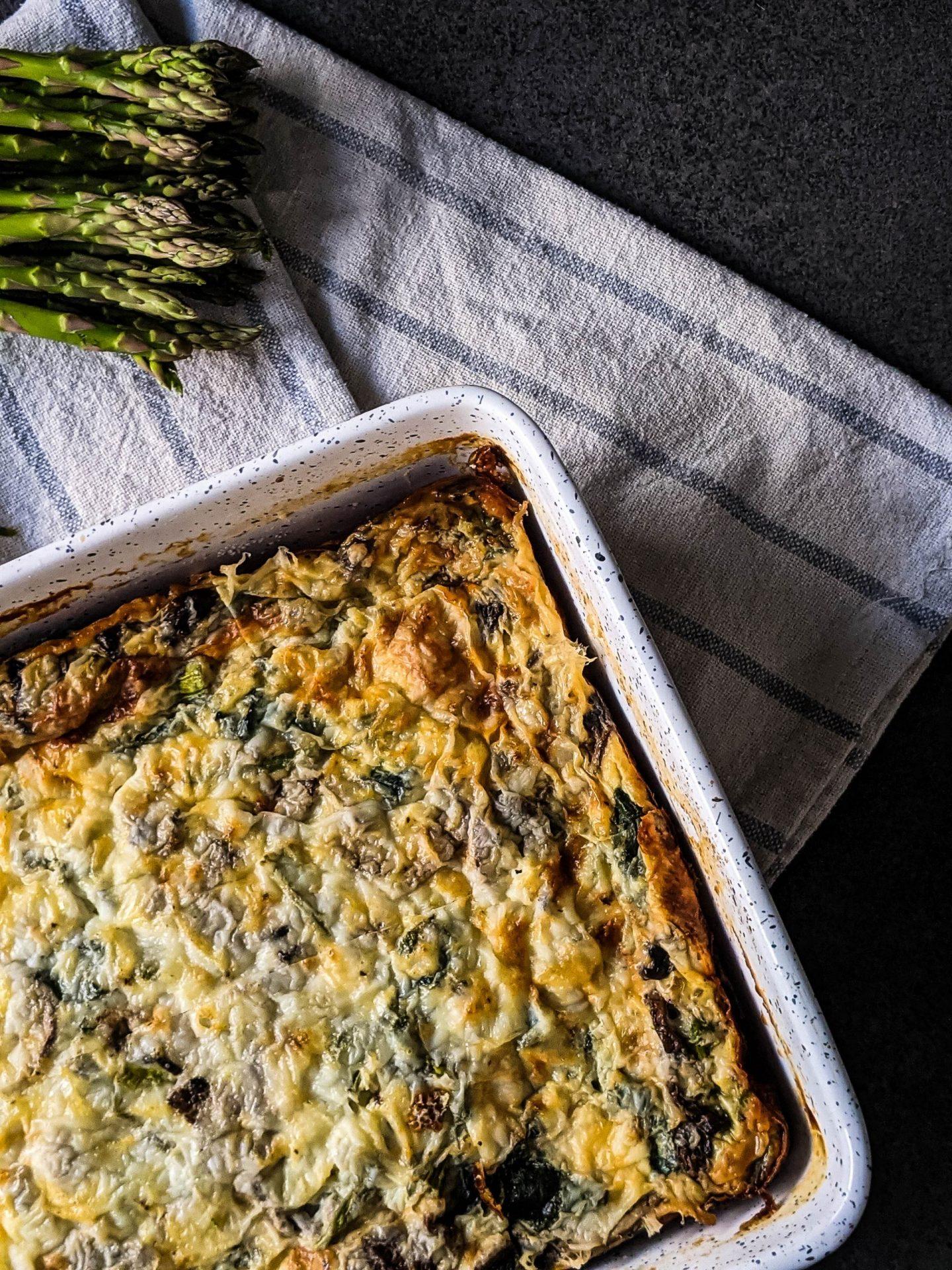 asparagus mushroom egg bake