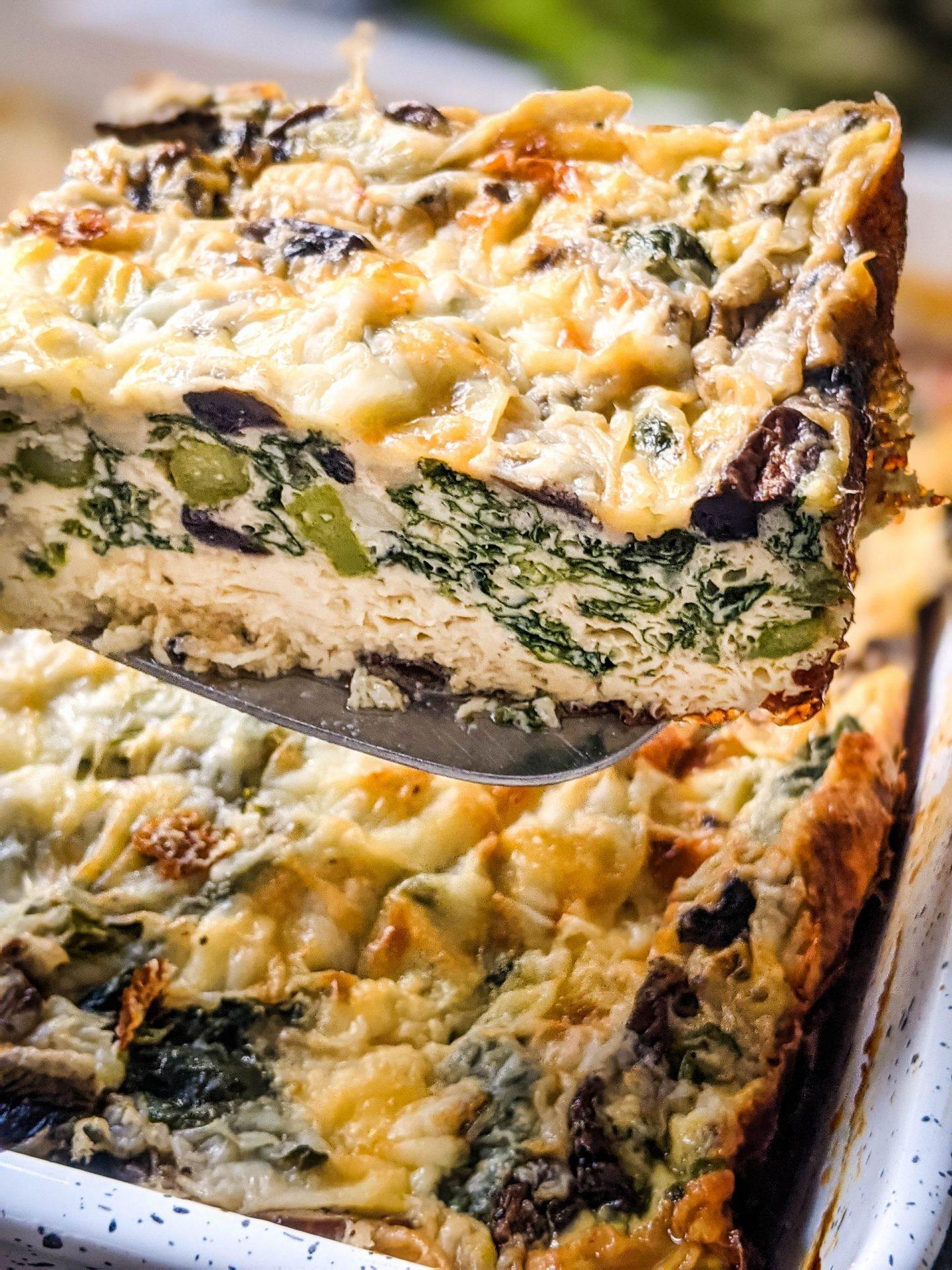 slice of asparagus mushroom egg bake