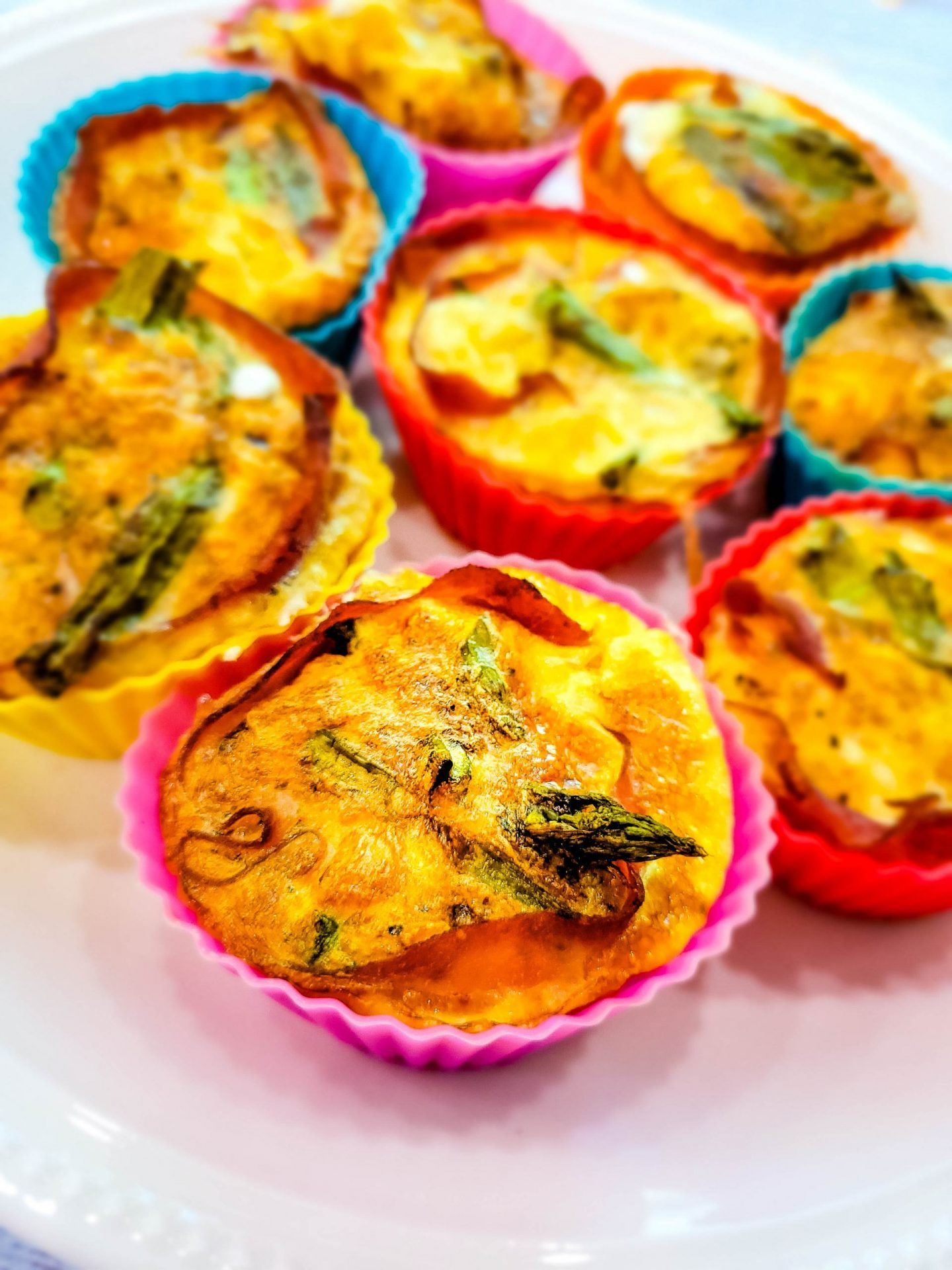 Air Fryer Egg Cups with Asparagus and Ham